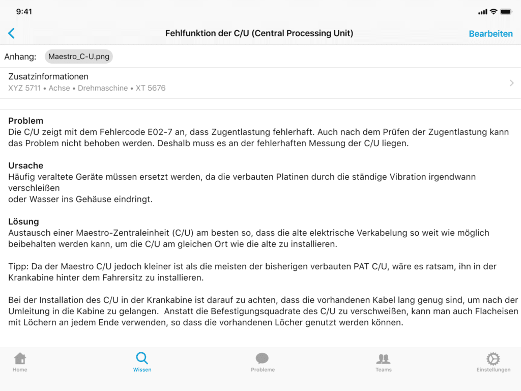 Servicenotiz iPad